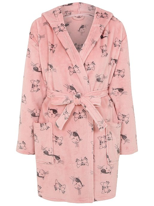 92ef5e98c5 Cat Print Hooded Dressing Gown. Reset