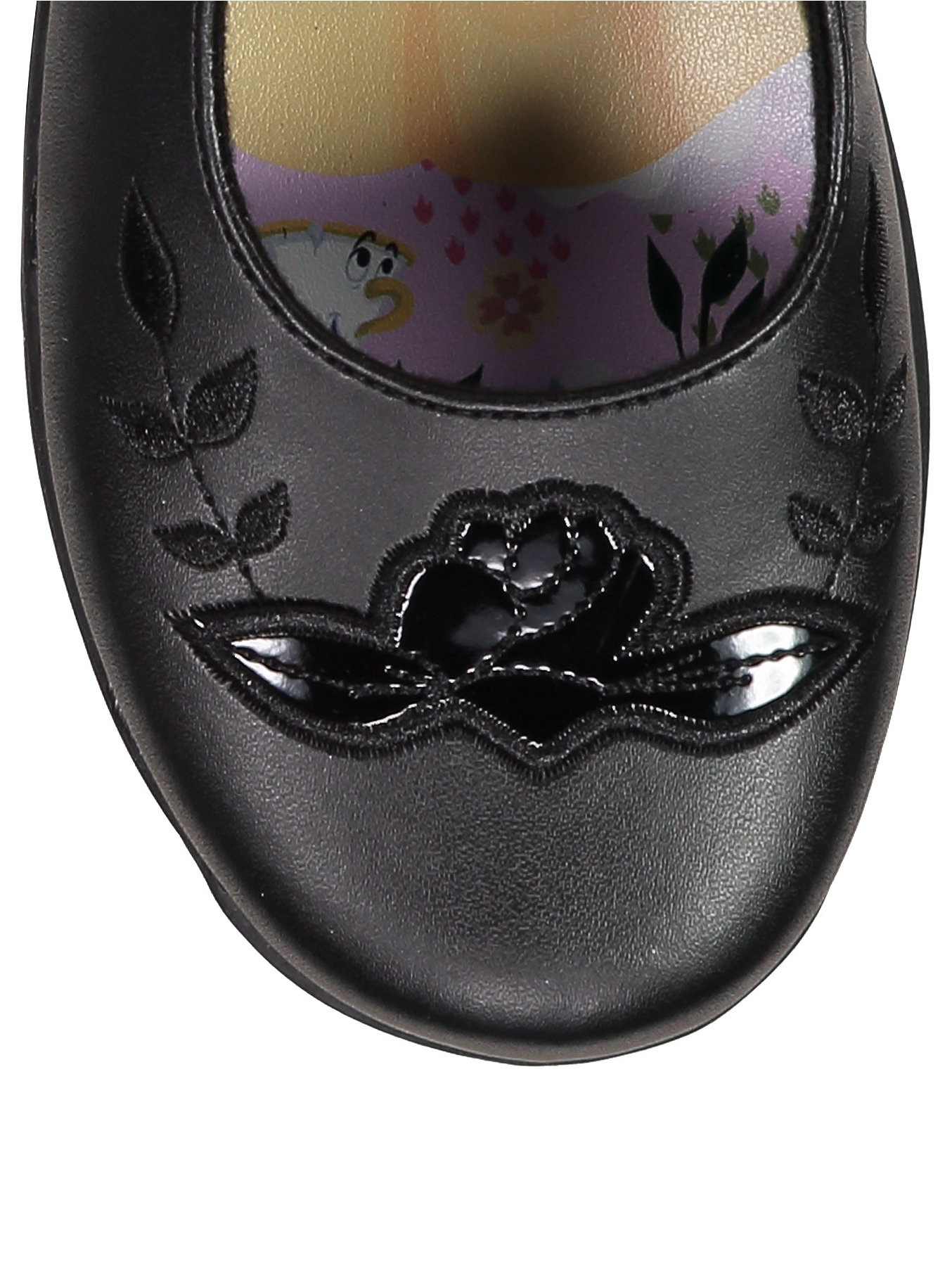 2e94c85eab24 Girls Black Disney Beauty and the Beast Light Up School Shoes. Reset
