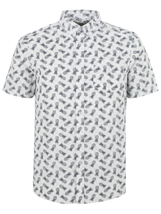 White Pineapple Print Short Sleeve Shirt Men George
