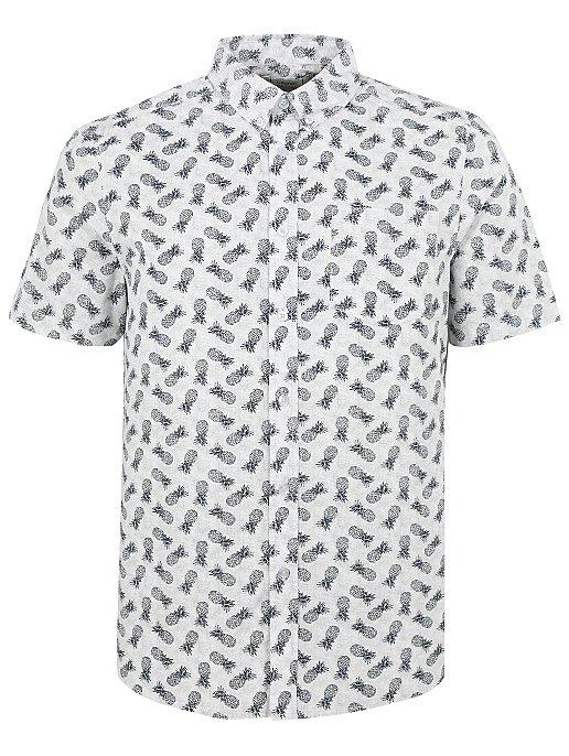 White Pineapple Print Short Sleeve Shirt Men George
