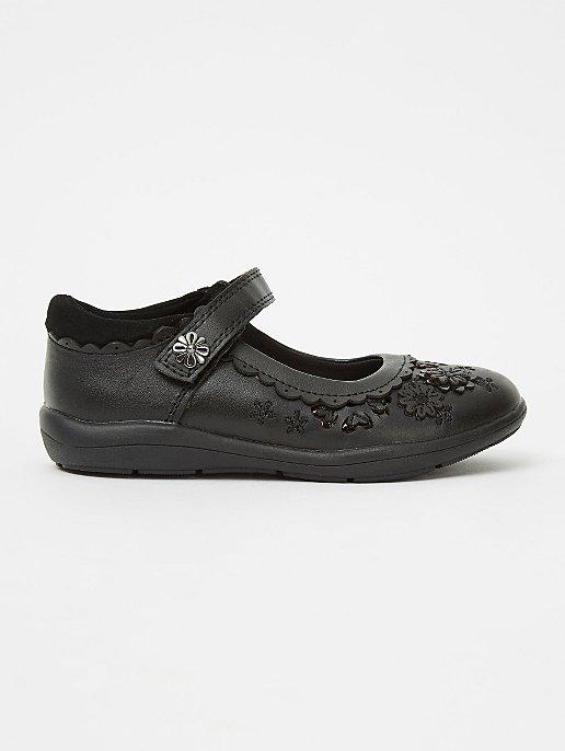 Girls Black Leather Floral Embellished School Shoes