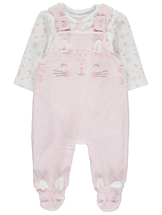 1ea3a4b469 Pink Cat Dungarees and Bodysuit Outfit