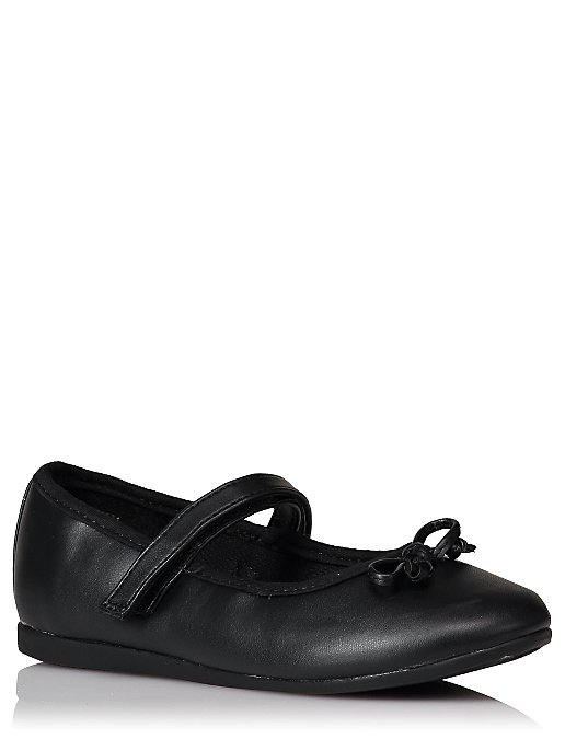 0a138215a Girls Black Bow Trim School Shoes