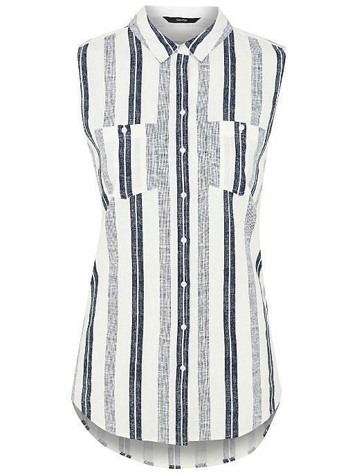 b19ab1d2187 Woven Linen Blend Sleeveless Shirt. Reset