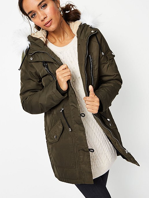40dadca7445c Khaki Faux Fur Trim Hooded Fleece Lined Parka
