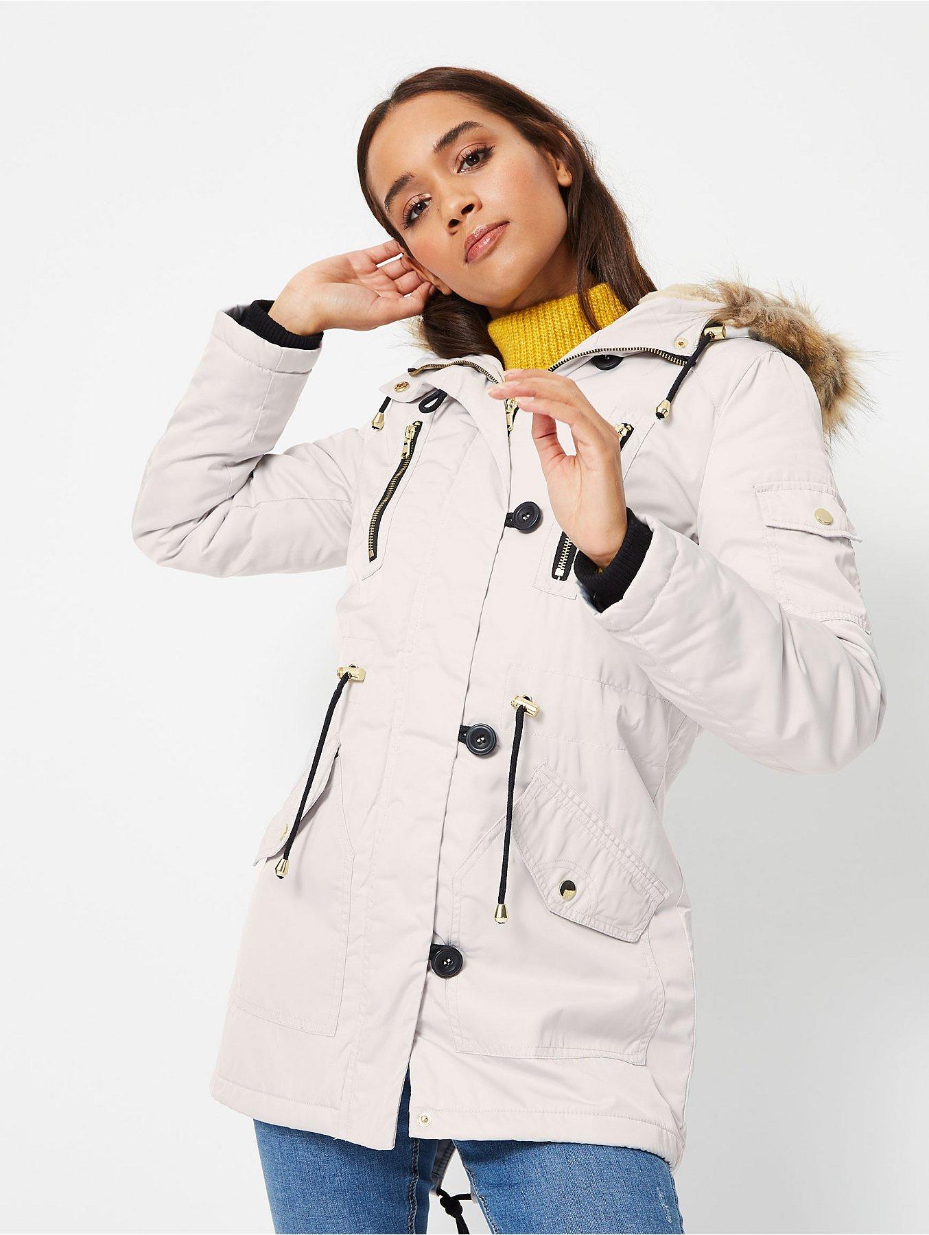 8d0c2ef204e2 White Faux Fur Trim Hooded Fleece Lined Parka