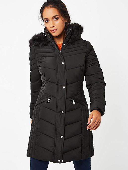 Black Faux Fur Trim Hooded Longline Padded Coat