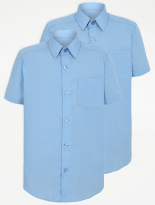 Boys Light Blue Slim Fit Short Sleeve School Shirt 2 Pack