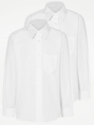 Boys White Plus Fit Long Sleeve School Shirt 2 Pack