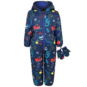 cd84cc6dd Navy Car and Dinosaurs Padded Snowsuit with Mittens