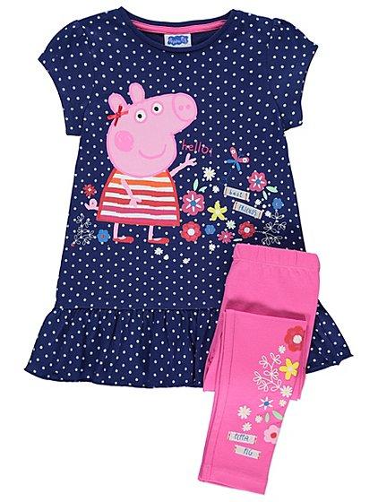 Peppa Pig Navy Polka-Dot Dress and Leggings Outfit   Kids   George