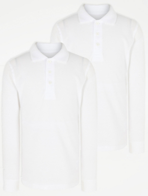 Boys White Long Sleeve School Polo Shirt 2 Pack