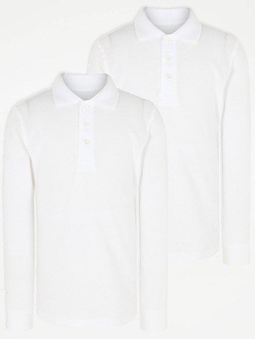 fa3010841 Boys White Long Sleeve School Polo Shirt 2 Pack