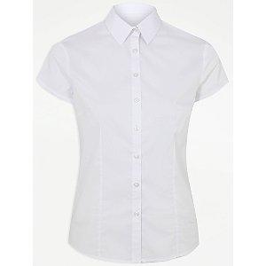 Senior Girls White Short Sleeve Stretch Slim Fit School Shirt