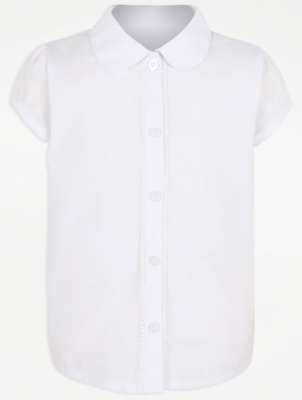 Girls White Picot Trim Short Sleeve School Blouse