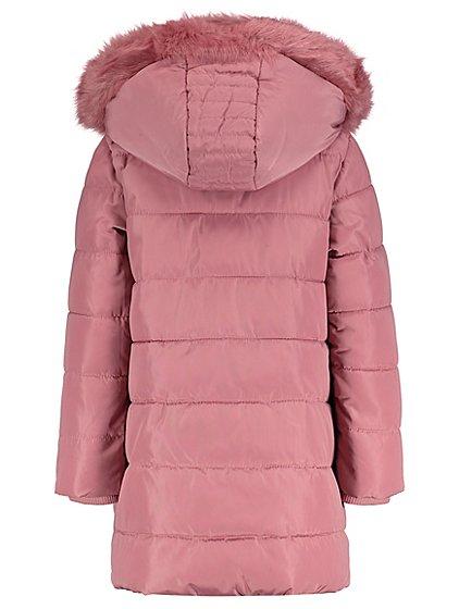 pink hooded faux fur shower resistant padded coat kids. Black Bedroom Furniture Sets. Home Design Ideas