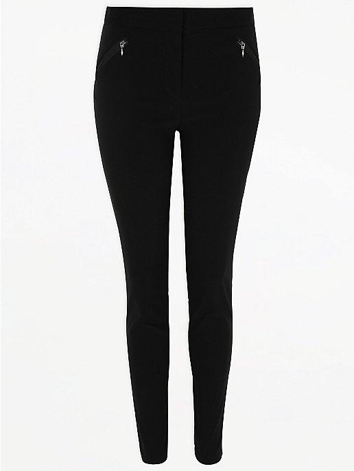 c5859558356f Senior Girls Black Zip Pocket Skinny Trouser   School   George