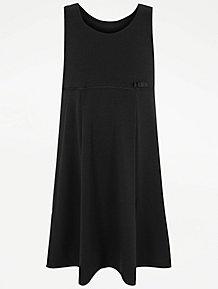 1c2912d31b53 Girls Black Jersey Empire Line School Pinafore Dress