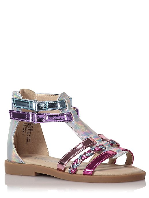 92312a23d08b Pink Metallic Iridescent Strappy Sandals