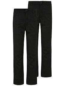 bb9c6f996 Boys Black Skinny Leg Adjustable Waist School Trousers 2 Pack