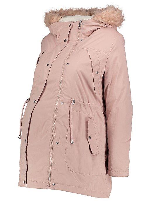 6b250cc6126bc Maternity Pink Faux Fur Trim Hooded Parka | Women | George