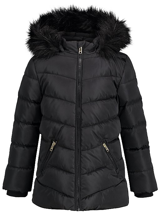 6dff19edf Black Hooded Shower Resistant Padded Coat