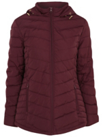 Burgundy Hooded Quilted Coat by Asda