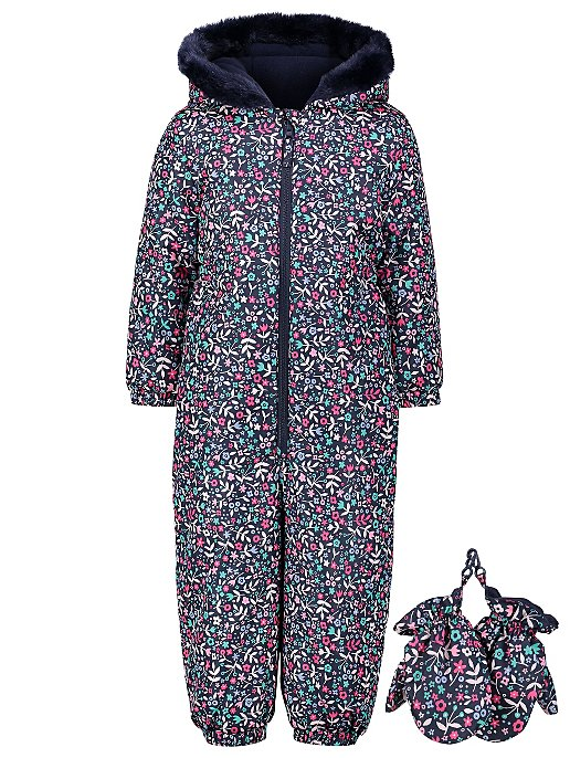 f33d4bf0be67 Navy Floral Print Snowsuit with Mittens