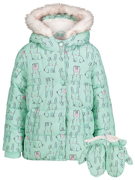 94e8237e1 Blue Rabbit Print Shower Resistant Padded Coat with Mittens