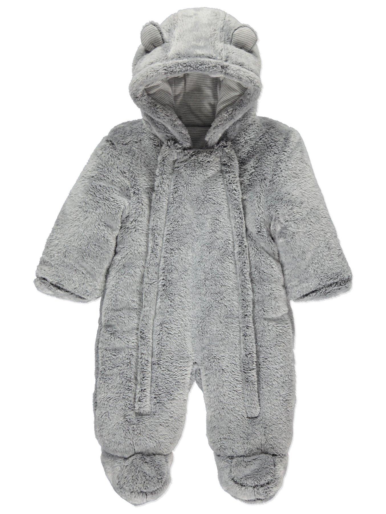 b1e14ceec652 Light Grey Faux Fur Hooded Snowsuit