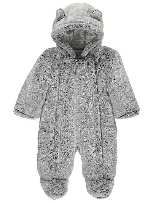 aac51f62eb8b Light Grey Faux Fur Hooded Snowsuit