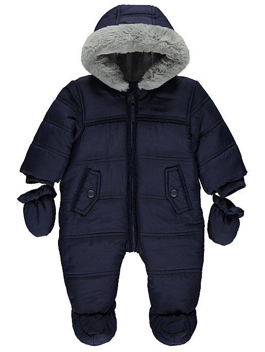 600666e3c Navy Hooded Faux Fur Trim Snowsuit
