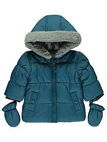 b71d047a3 Green Shower Resistant Padded Coat with Mittens