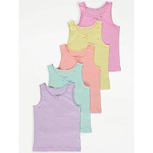 Pastel Colour Bow Vests 5 Pack