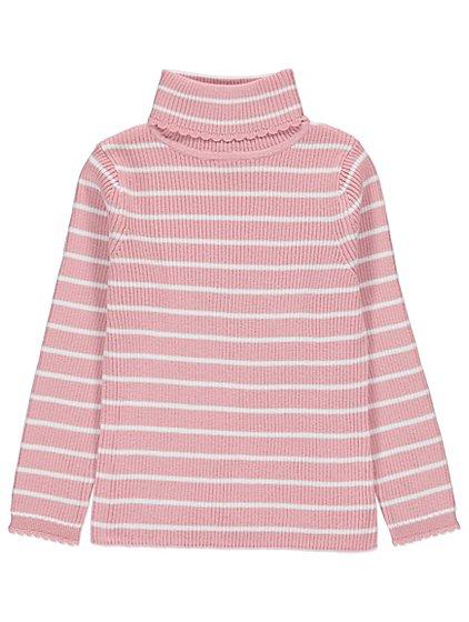 Pink Stripe Scalloped Trim Long Sleeve Rib Knit Top Kids George