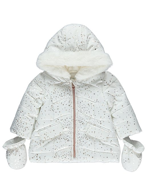 803ac286e White Star Print Shower Resistant Coat