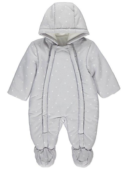 02e7cc1cbee6 Light Grey Star Print Snowsuit