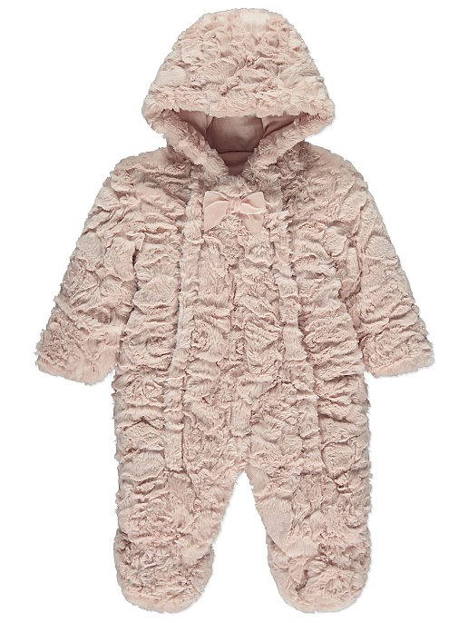 64659734a Pink Faux Fur Snowsuit | Baby | George