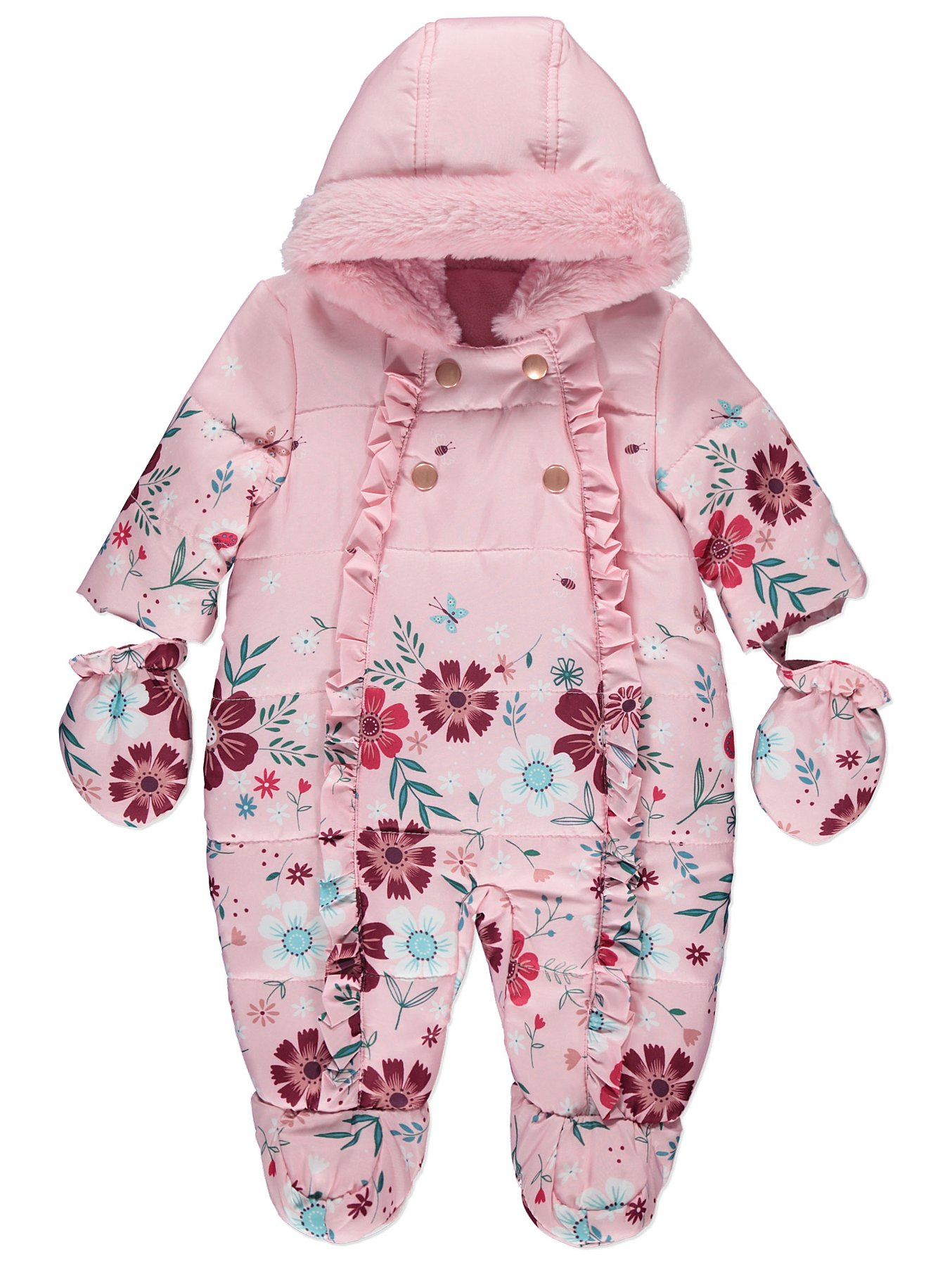 fbb7ea1e7 Pink Floral Shower Resistant Snowsuit With Mittens | Baby | George