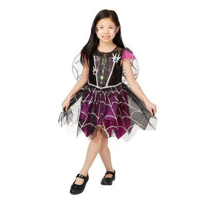 Young girl dressed in a black and dark pink witch halloween costume