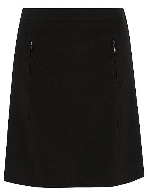 2c4250008 Senior Girls Black A-Line Zip Detail School Skirt | School | George