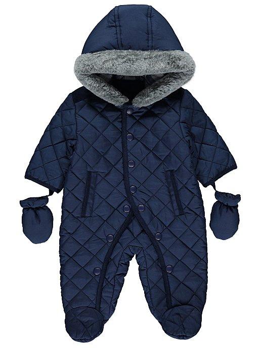 c1c8eba66 Navy Faux Fur Trim Snowsuit