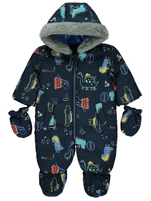 49ba8676720d Navy Dinosaur Hooded Faux Fur Trim Snowsuit with Mittens