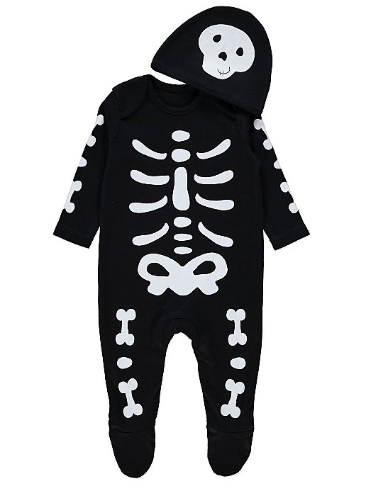 48badb579 Halloween Skeleton All in One and Hat Outfit