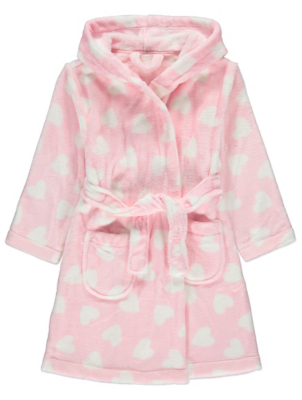 Baby Pink Heart Print Dressing Gown