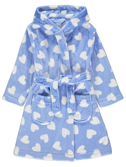 Blue Heart Print Dressing Gown | Kids | George