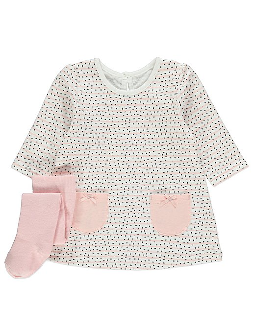 72cbe1059 Pink Printed Sweater Dress and Tights Outfit | Baby | George