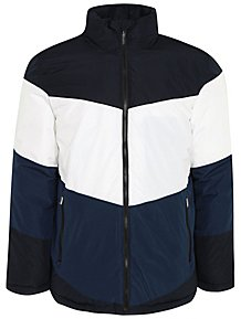 Navy Colour Block High Neck Padded Jacket
