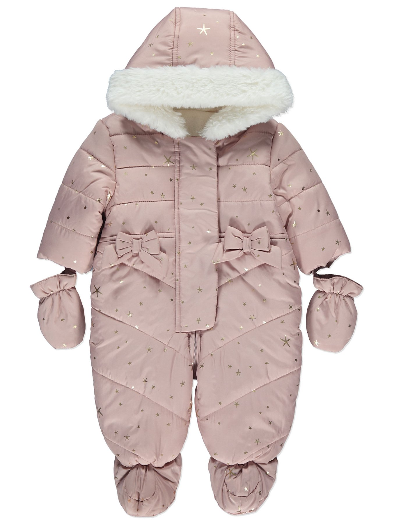 ee5116fe5 Pink Star Print Shower Resistant Snowsuit | Baby | George