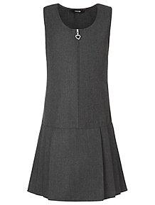 7637bc3e1cb Girls Grey Plus Fit Drop Waist School Pinafore Dress